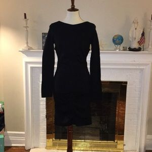 Nicole Miller Ruched Ponte knit black dress